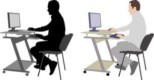 Mężczyzna pracuje na jego komputerze Zdjęcia Stock