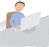 Mężczyzna pracuje póżno lub długie godziny ilustracji