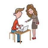 Mężczyzna pracuje z lab wierzchołka kreskówki rysunkiem Zdjęcie Stock