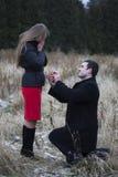 Mężczyzna proponuje kobieta w parku Zdjęcia Stock
