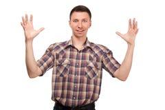 Mężczyzna przechwala się o rozmiarze coś Fotografia Royalty Free