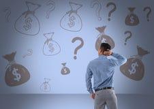 mężczyzna przed pieniądze na ścianie Obraz Stock