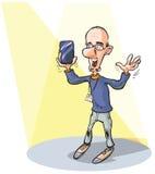 Mężczyzna przedstawia nowego zaawansowany technicznie produkt Zdjęcie Royalty Free