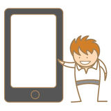 Mężczyzna przedstawia przez telefon komórkowy Obraz Royalty Free