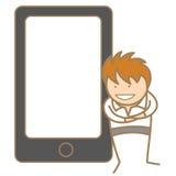 Mężczyzna przedstawia przez telefon komórkowy Zdjęcie Stock