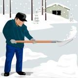 Mężczyzna przeszuflowywa śnieg royalty ilustracja