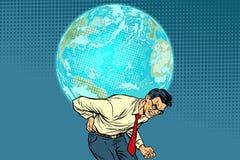 Mężczyzna przewożenia planety ziemia Zdjęcie Royalty Free