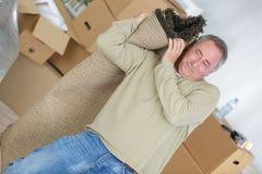 Mężczyzna przewożenie staczający się dywan w żywym pokoju zdjęcie royalty free