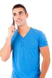 Mężczyzna przy telefonem Obraz Royalty Free