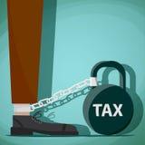 Mężczyzna przykuwający kettlebell z słowo podatkiem Akcyjny Wektorowy cartoo royalty ilustracja