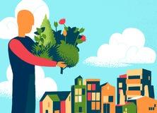 Mężczyzna przynosi rośliny i warkocz dla miasta ilustracja wektor