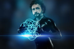 Mężczyzna przyszłość z czarnym lateksowym kostiumem i błękitnymi neonowymi światłami Obraz Stock