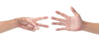 Mężczyzna ręka bawić się skała papierowych nożyce odizolowywa na białym tle Zdjęcia Stock