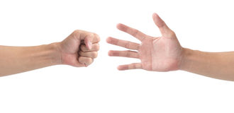Mężczyzna ręka bawić się skała papierowych nożyce odizolowywa na białym tle Fotografia Royalty Free