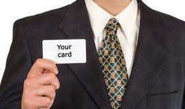 Mężczyzna ręka pokazuje pustą wizytówkę zdjęcie royalty free