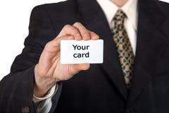 Mężczyzna ręka pokazuje wizytówkę zdjęcia royalty free