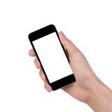 Mężczyzna ręka trzyma czarnego smartphone Zdjęcia Stock