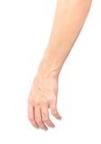 Mężczyzna ręka z krew żyłami na tle, opiece zdrowotnej i mnie białych, Obrazy Stock