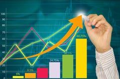 Mężczyzna ręka z piórem rysuje wykres strategię biznesową i mapę jako pojęcie na whiteboard Obrazy Royalty Free