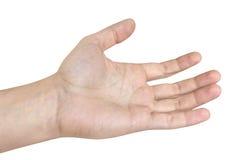 Mężczyzna ręki bielu tło Zdjęcia Royalty Free