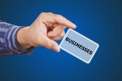 Mężczyzna ręki macania guzika biznesów słowo kluczowe Obraz Royalty Free