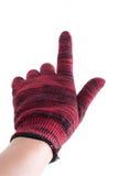 Mężczyzna ręki mienia palec w rękawiczce na białym tle Obrazy Royalty Free