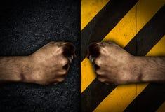 Mężczyzna ręki pięść na ciemnym tle Zdjęcie Royalty Free