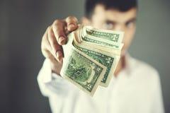 Mężczyzna ręki pieniądze fotografia royalty free
