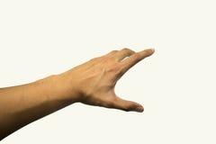 Mężczyzna ręki spojrzenie jak dojechanie coś na odosobnionym białym tle Obraz Stock