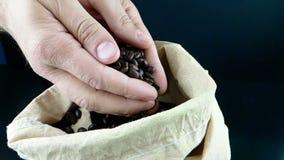 Mężczyzna ręki trzyma kawowe fasole w kanwa worku, puszek, strzału zwolnione tempo, rolnictwo i odżywianie niektóre spada, zdjęcie wideo