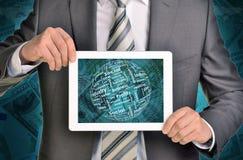 Mężczyzna ręki używać pastylka komputer osobistego Pieniądze i sfera Obraz Royalty Free