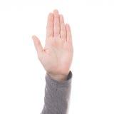 Mężczyzna ręki znak odizolowywający Fotografia Stock
