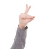 Mężczyzna ręki znak odizolowywający Obraz Royalty Free