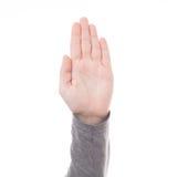 Mężczyzna ręki znak odizolowywający Obraz Stock