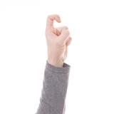 Mężczyzna ręki znak odizolowywający Zdjęcie Royalty Free