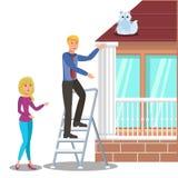 Mężczyzna Ratuje kota na Dachowej Płaskiej Wektorowej ilustracji ilustracji