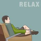 Mężczyzna relaksuje w krześle ilustracja wektor