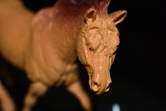 Mężczyzna robić zabawkarski brown koń Obrazy Royalty Free