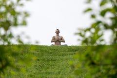 Mężczyzna robi joga ćwiczy w parku Zdjęcie Stock