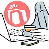 Mężczyzna robi online zakupowi ilustracja wektor