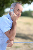 Mężczyzna robi rozmowie telefonicza Obrazy Stock