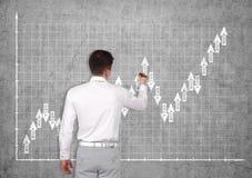 Mężczyzna rynków walutowych rysunkowa mapa Fotografia Stock