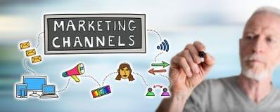 Mężczyzna rysuje marketingowych kanałów pojęcie Obrazy Royalty Free
