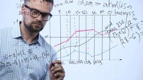 Mężczyzna rysuje różnorodne wzrostowe mapy, kalkulatorskie perspektywy dla sukcesu w nowożytnym szklanym biurze zbiory wideo