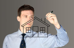 Mężczyzna rysunku dom Zdjęcie Royalty Free