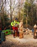Mężczyzna rzeźbi jastrzębia podczas boże narodzenie rynku Obrazy Royalty Free