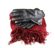 Mężczyzna ` s czarne rzemienne rękawiczki na białym tle Obraz Royalty Free