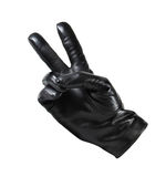 Mężczyzna ` s czarne rzemienne rękawiczki na białym tle Zdjęcia Royalty Free