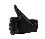 Mężczyzna ` s czarne rzemienne rękawiczki na białym tle Obraz Stock