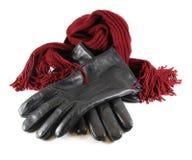 Mężczyzna ` s czarne rzemienne rękawiczki na białym tle Fotografia Royalty Free